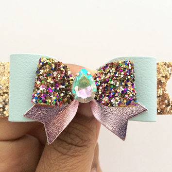 Glitter bow, leather bow, Baby Blue and Pink Leather clip, Summer Accessories Rhinestone clip Pink Blue Hair Clip, Robin's Egg, Birthday Bow