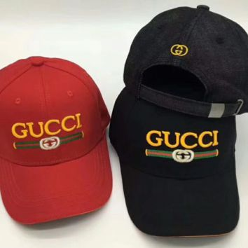 GUCCI Fashion Logo Embroidery Sports Sun Hat Baseball Cap Hat Black Stripe For Women Men G-GQHY-DLSX