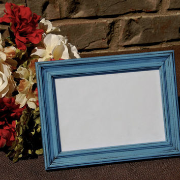 Rustic picture frame: Vintage antique blue 5x7 hand-painted decorative wooden tabletop photo frame