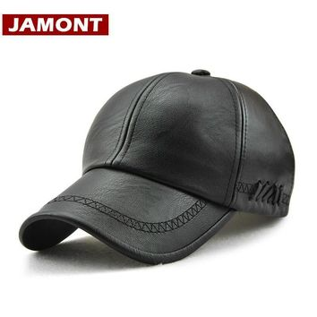 Trendy Winter Jacket [JAMONT] New Design Men Baseball Cap Winter Snapback Hat 100% PU Leather Hats Winter Male Caps Simple Style Casquette AT_92_12