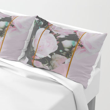 Pink Roses Palette Pillow Sham by byjwp