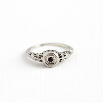 Sale - Antique 18k White Gold Garnet Floral Filigree Ring - Size 7 Vintage 1920s Red Gemstone Filigree Fine Engagement Solitaire Jewelry