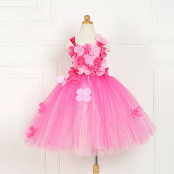 Fuchsia Pink Flower Fairy Tutu Dress, Fairy Fancy Dress, Handmade Tutu, Woodland Fairy Garden, Spring Flowers,**NEW SPRING COLLECTION**