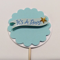 "Scalloped circle ""It's a Boy"" cupcake topper. Baby Shower Partypicks, Party decor, Baby shower; Cupcake toppers. 12 per order"