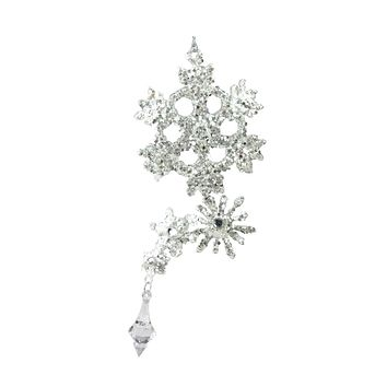 """8.5"""" Silver Glittered and Jeweled Snowflake Cluster Christmas Ornament"""