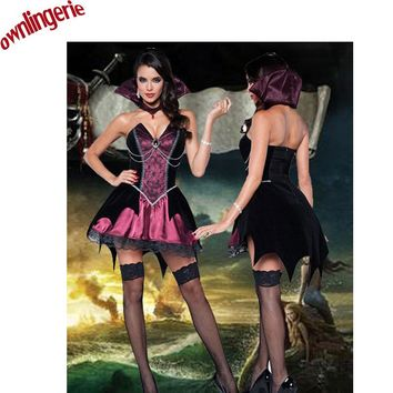 Free Shipping Luxury Vampire costumes halloween costumes for women evil medieval ball gowns black/red vampire cosplay costumes