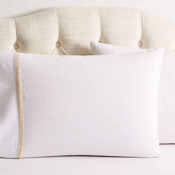 Crochet Shams, White/Beige, Pillow Cases