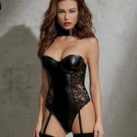 Faux Leather And Lace Teddy