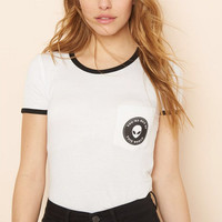 White Alien Face and Letter Print Contrast T-Shirt
