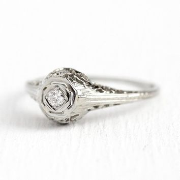 Filigree Engagement Ring - Vintage 18k White Gold Art Deco .08 C e985d4cd5f