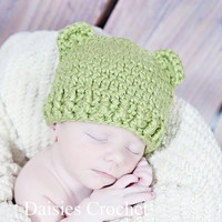 Organic Baby Hat  Dusty Sage Beanie with Bear by daisiescrochet