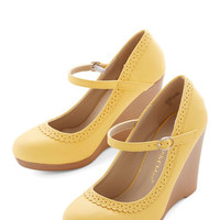 ModCloth Bon Anniversaire Wedge in Lemon