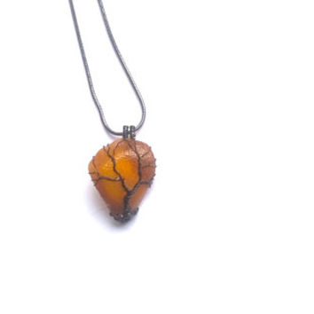 Amber Necklace, Black Tree Of Life Wire Wrapped Amber Bead Pendant, Fossil Gemstone Pendant, Wire Weaved Handmade Baltic Amber Necklace