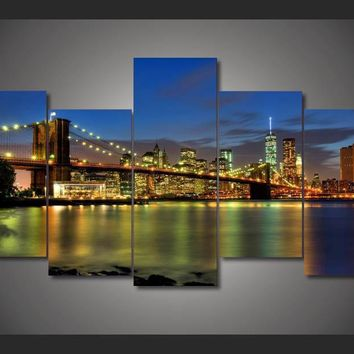 New York City bridge canvas wall art print Panel Poster Picture Print 5 pieces