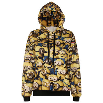 Women/Men Hoodie Long Sleeve 3D Minions Printed Front Pocket Sweatshirt