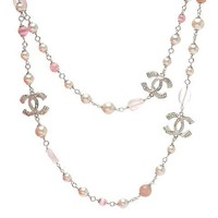 Chanel Woman Fashion Logo Pearls Necklace For Best Gift