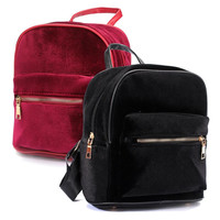 Cute Backpacks Solid Velvet Fashion Casual Retro Style Backapck with Zipper