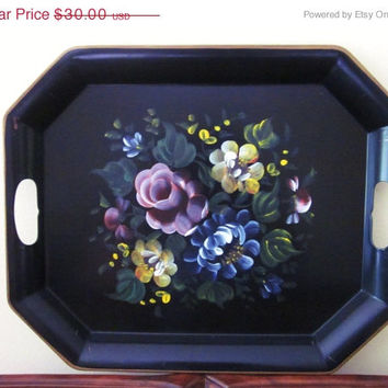 ON SALE Tole Tray Black with Flowers, Vintage, Handpainted, Nashco Tray