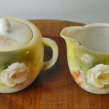 Floral Cream And Sugar, Made In Germany, Vintage Green Creamer and Sugar Bowl