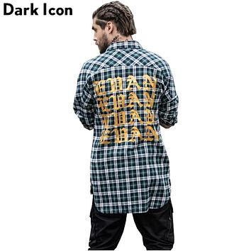 Gothic Letter Printed Shirttail Flannel Plaid Shirts Men Long Sleeve Spring Curved Hem Hip Hop Shirt Men Cotton 3 Colors