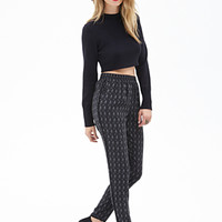 LOVE 21 Abstract Chevron Tuxedo-Stripe Joggers Black/Grey