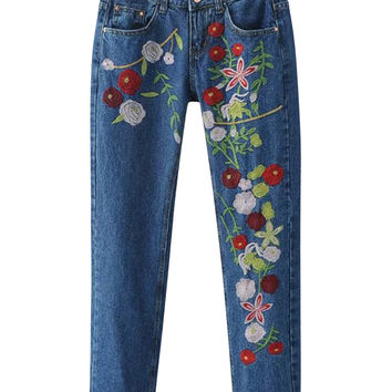 Blue Embroidery Floral Boyfriend Jeans