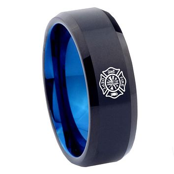 8mm Fire Department Bevel Tungsten Carbide Blue Promise Rings