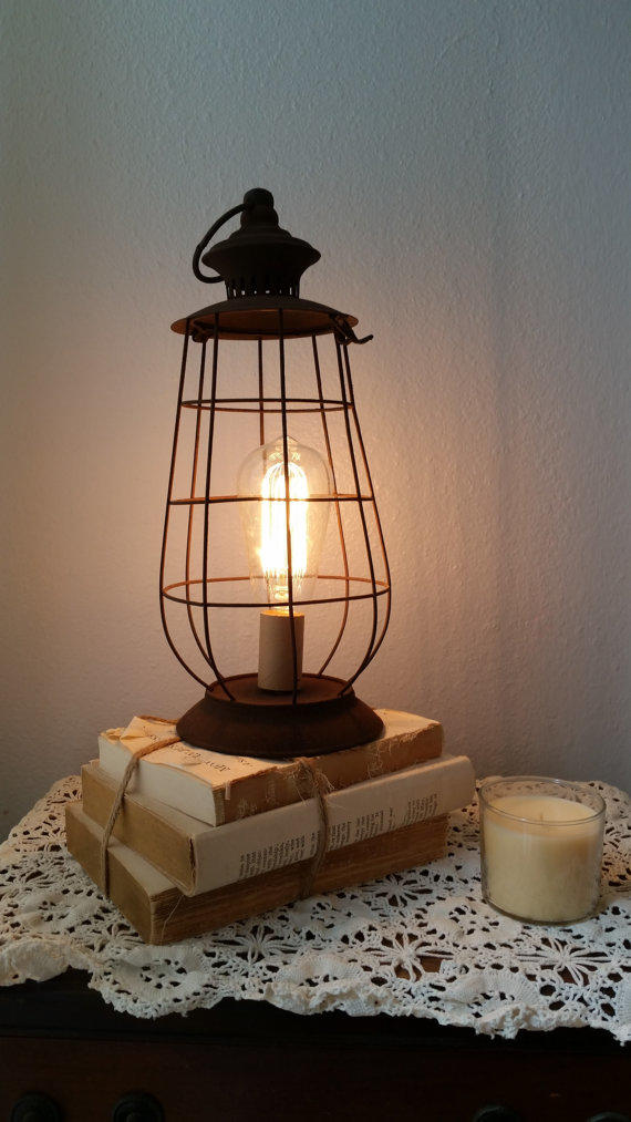 brown rustic lantern lamp shabby light from thepinktoolbox on