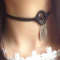 Indian Feather Dream Catcher Choker Necklace