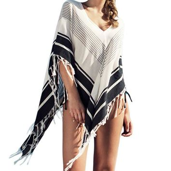 Chicloth Stylish Print Tassel Knitted Beach Cover Up