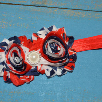 Shabby Patriotic 4th of July Headband/Red White Blue/ pearl rhinestone