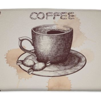 Bath Mat, Hand Drawn Coffee Cup Illustration On Decorative With Coffee Beans Frame