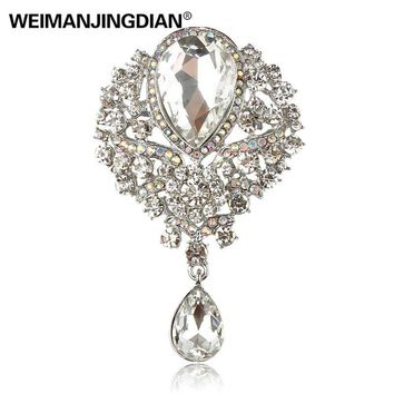 WEIMANJINGDIAN Brand Large Crystal Diamante Rhinestones Teardrop Wedding Brooch Pins in Assorted Colors