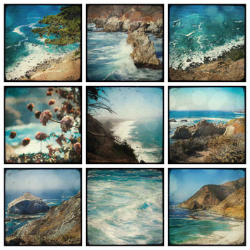 Big Sur - set of 9 PHOTOS, california photography gift set, pacific ocean photography