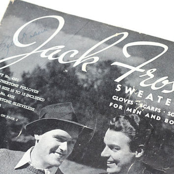 "Vintage 40s ""Jack Frost"" Knitting Pattern Booklet for Men and Boys Pullovers , Sweater Vests , Sweaters , Cardigans , Socks , Scarves , MORE"