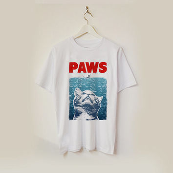 cat meow paws jaws T-shirt unisex adults USA