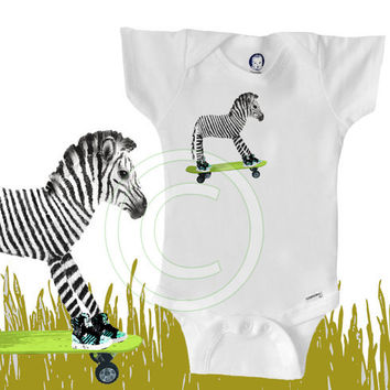 Organic zebra Onesuit, skateboard, funny, cool, hipster baby