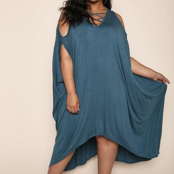 Teal Cold Shoulder Boxy Draped plus Size Maxi Dress