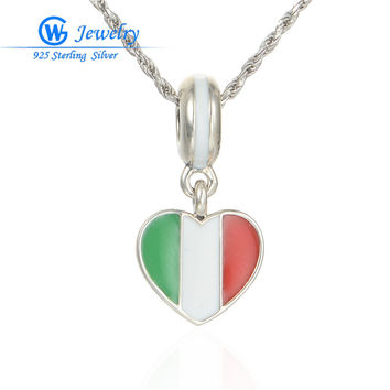 italy flag pendant charm 925 sterling silver  enamel charms heart pendants fits bracelets  &  necklace fine  lw519