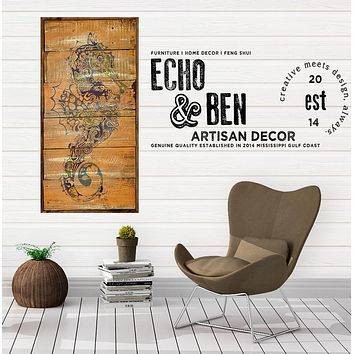 Seahorse Rustic Chic Decorative Wall Art