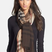 Women's Burberry 'Ombre Check Wool & Silk Scarf