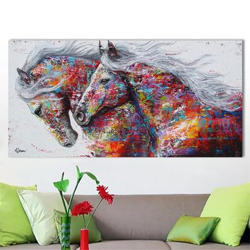 Wall Art Picture Canvas Oil Painting Animal Print For Living Room Home Decor Color Horses Textured prints No Frame