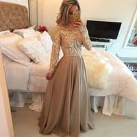 Women Fashion Hollow Out Lace Long Dress