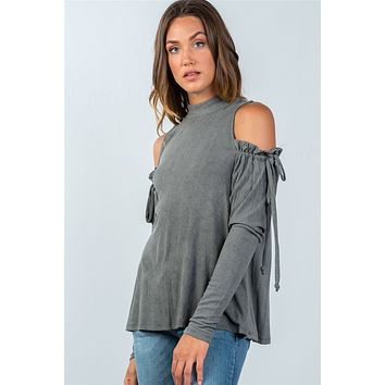 Ladies fashion high neck cold shoulder gathered sleeve top