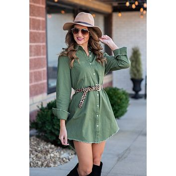 Need You Around Button Down Shirt Dress : Olive