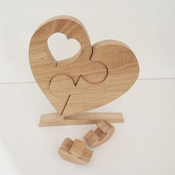 Solid Oak Heart Jigsaw keepsake wooden ornament home decor handmade Valentines wedding gift unique and unusual
