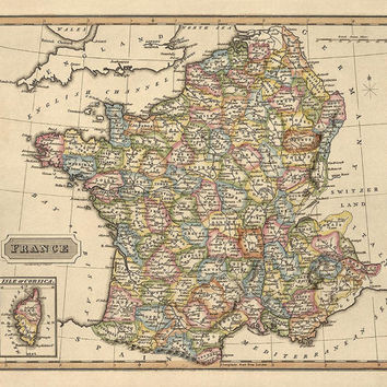Antique Map of France (c1817) by Fielding Lucas - Archival Reproduction