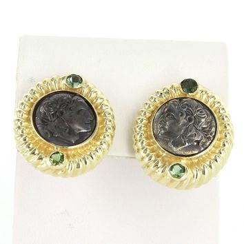 Vintage Ancient Coin Sapphire 18 Karat Yellow Gold Round Cocktail Earrings Estate Jewelry