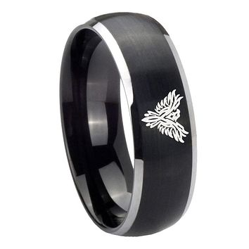 8MM Matte Brush Black Dome Phoenix 2 Tone Tungsten Laser Engraved Ring