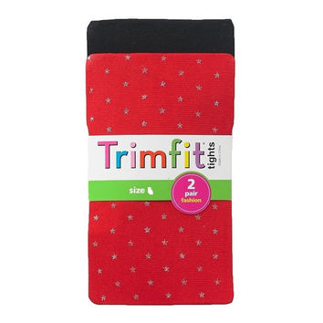 Trimfit Tights Girls 2 Pack Sparkle Tights in Black & Red Size Medium NWT
